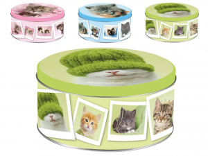 HOME Pack 6 Round Tin Boxes Decoration Cats Cm17Xh8 Jars Food Storage Containers Italy