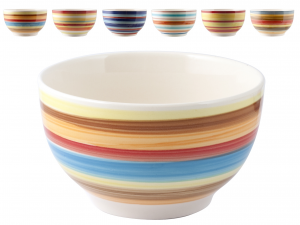 HOME Pack 6 Ceramic Bowl 100Righe Cm14.5 Bowls Exclusive Design Made in Italy