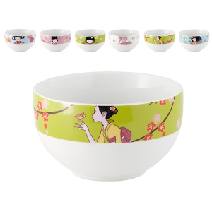 HOME Pack 6 Porcelain Bowl Decoration Doll Cm14 Bowls Exclusive Italian Design