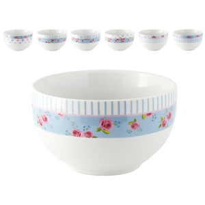 HOME Pack 6 Porcelain Bowl Flower Cm13 Bowls Exclusive Design Made in Italy