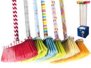 HOME Pack 6 Brooms with handle assorted colors Laundry Exclusive Italian Design