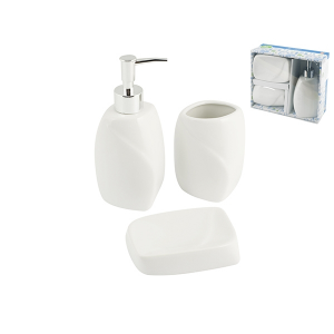 HOME Bath Pack 3 Pieces Ceramic Gabriel Exclusive Brand Design Made in Italy
