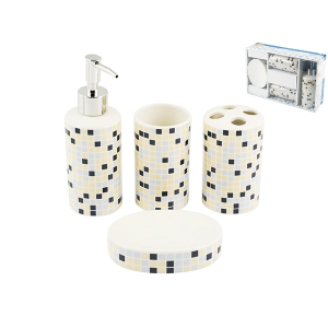 HOME Bath Pack 4-Piece Ceramic Decor Christal Exclusive Design Made in Italy