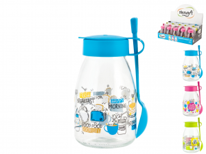 HOME Pack 15 Glass Jar With Spoon 500cc Display Exclusive Design Made in Italy