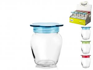 HOME Pack 24 Jar Glass / Plastic cap 370Cc colors Display Top Italian Brand