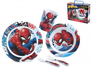 LULABI Pack 5 Pieces Bimbo Melamine Spiderman Exclusive Italian Design Brand
