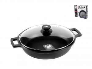 PINTI INOX Non-Stick Pan 2 Handles Efficient With Cm28 Lid Top Italian Brand