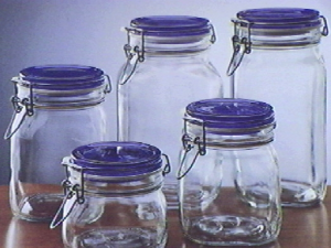 BORMIOLI ROCCO Pack 6 Glass Jars Trusty Blue Sealing Plug Cc1000 Italian Style