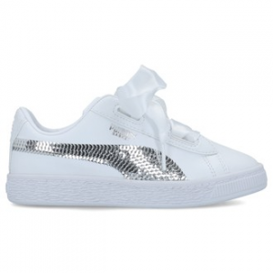 SNEAKERS PUMA BASKET HEART BLING PS WHITE SILVER 366848 02