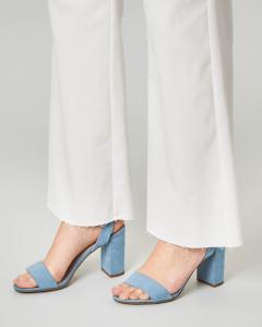 Pantalone bianco in cotone con orlo sfrangiato