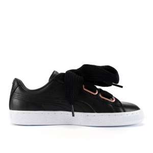 SNEAKERS PUMA BASKET HEART LEATHER BLACK-GOLD ROSE 367817 02