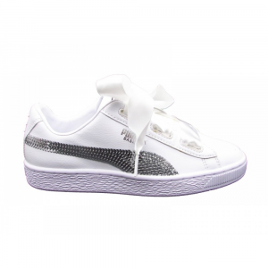 SNEAKERS PUMA BASKET HEART BLING JR 366847 02 PUMA-WHITE PUMA-SILVER