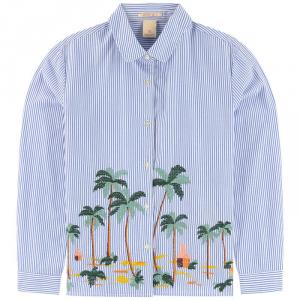 Camicia a righe celesti e bianche con ricamo palme