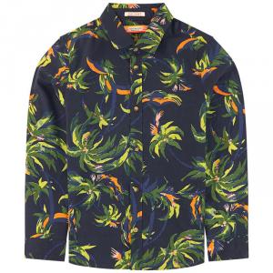 Camicia blu scura con fantasia palme verdi