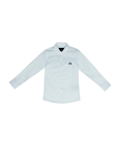 Camicia bianca con ricamo logo nero