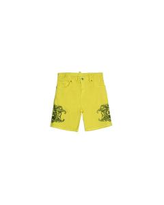 Pantaloncino limone con stampe fantasie nere