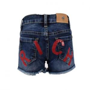 Pantaloncino di jeans con stampa scritta rossa