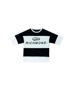 T-Shirt a righe bianche e nere con stampa scritta nera