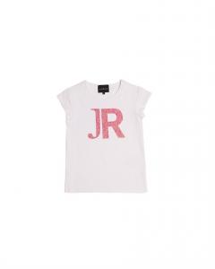 T-Shirt bianca con lettere rosa glitter