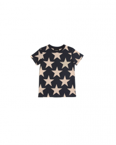 T-Shirt blu scura con stampe stelle rosa