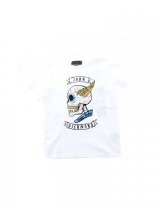 T-Shirt bianca con stampa teschio multicolore