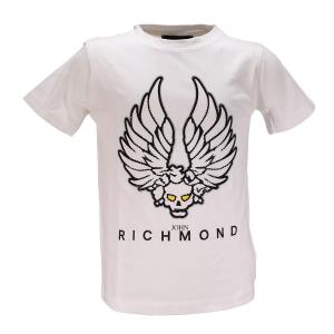 T-Shirt con teschio alato e logo