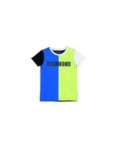 T-Shirt nera, blu, gialla e bianca con stampa scritta nera