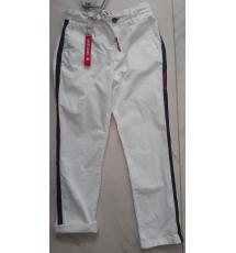 Pantalone bianco con lacci e bande nere