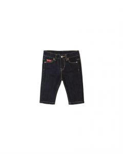 Jeans blu scuro con cuciture gialle
