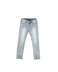 Jeans celeste chiaro con stampa scritta bianca