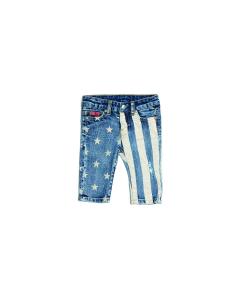 Jeans con stampe stelle e strisce beige