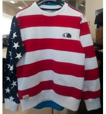 T-Shirt a righe bianche e rosse con ricamo logo nero