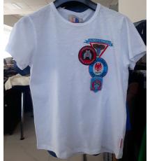 T-Shirt bianca con stampa azzurra e rossa