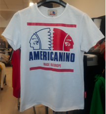 T-Shirt bianca con stampa logo blu e rosso