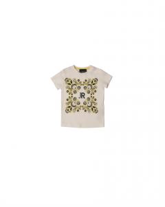 T-Shirt bianca con stampa fantasia multicolore