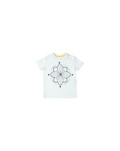 T-Shirt bianca con stampa fiore nero