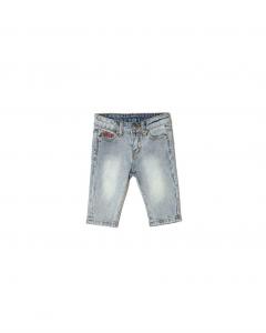 Jeans celeste con stampa scritta rossa