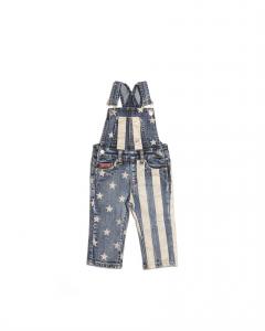Salopette di jeans con stampe stelle e strisce beige