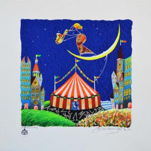 Meloniski - Circo dei due villaggi- Serigrafia retouchè - Form. cm 35x35