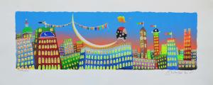 Meloniski - Città in festa - Serigrafia retouchè - Form. cm 25x60