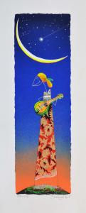 Meloniski - Suonatrice di Mandolino - Serigrafia retouchè - Formato cm. 60x25