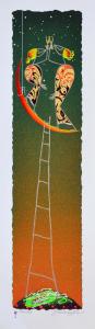 Meloniski - Brindisi sulla luna,  Serigrafia retouchè - Form. cm 50x15