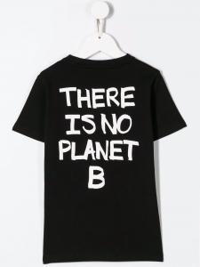 T-Shirt nera con stampe cerchio, fulmini e scritte bianche