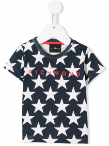 T-Shirt blu con stampe stelle bianche e scritta rossa