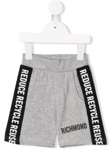 Pantaloncino di tuta grigio con bande e scritta nere