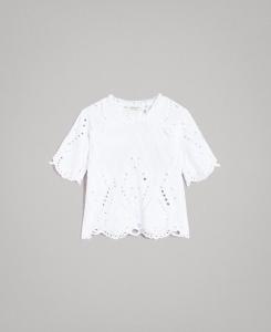 Blusa bianca in mussola con ricamo sangallo