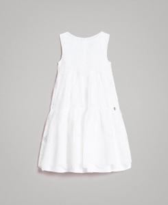 Vestito bianco in organza ricamata e pizzo