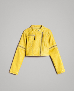 Giubbotto giallo in similpelle con zip