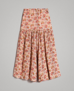Gonna pantalone rosa con stampe fiori