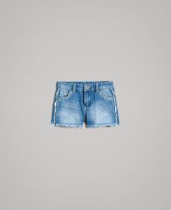 Pantaloncino di jeans con ricami stelle